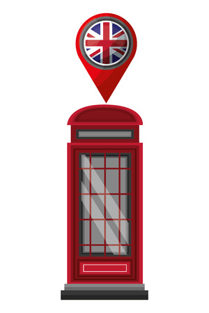london telephone box british flag in pin map vector illustration