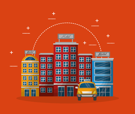 accommodation building luxury hotel taxi vector illustration