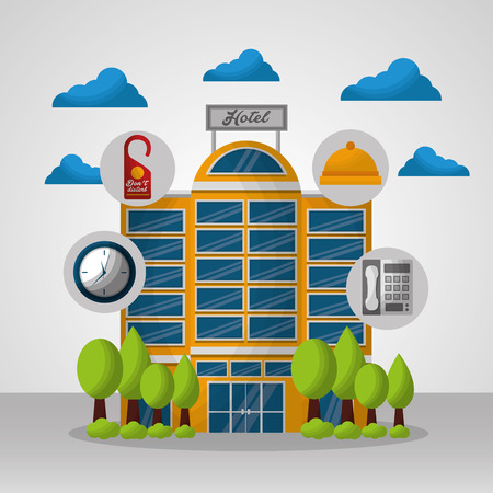 hotel building service clouds ring reception telephone clock vector illustration Ilustracja
