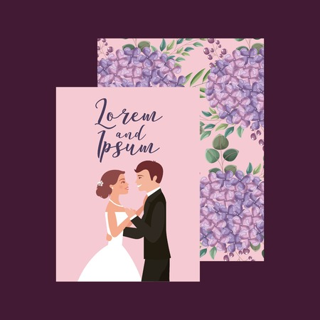 wedding card bride and groom floral flowers decoration vector illustration Illustration
