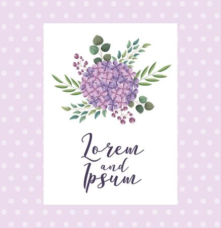 bouquet flowers wedding greeting card dotted background vector illustration