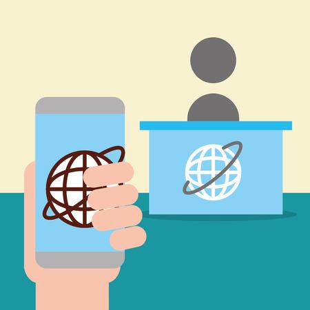news communication relate hand holding hand world desk vector illustration