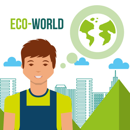 young man eco world planet city energy vector illustration