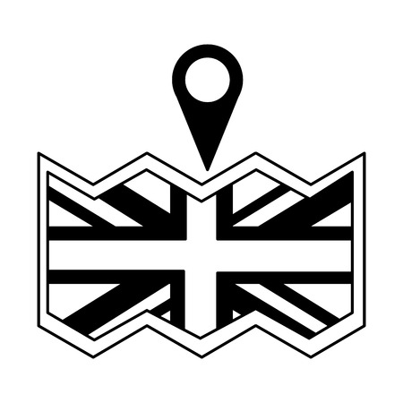 british flag in map location pin vector illustration black and white Illustration