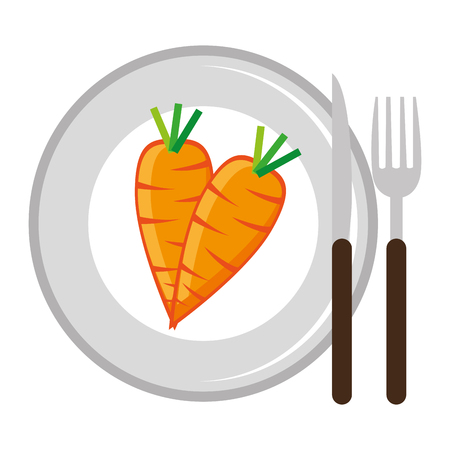 fresh carrots in dish vegetarian food vector illustration design