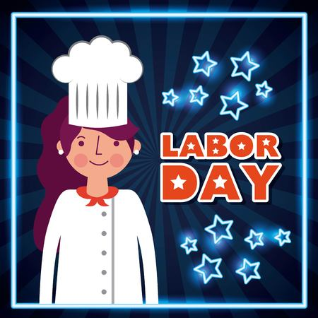 labor day card cute girl smiling chef profession sign neon stars vector illustration