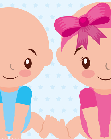 cute boy and gir baby characters vector illustration Illustration