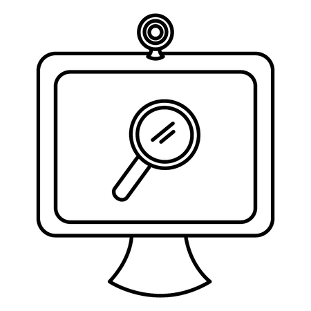 computer with webcamera and magnifying glass vector illustration design  イラスト・ベクター素材