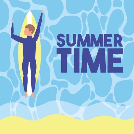 summer time vacations boy lying down surf table sea vector illustration Illustration