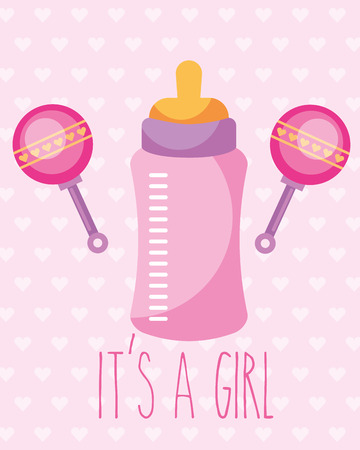pink feeding bottle and rattles toy its a girl card vector illustration