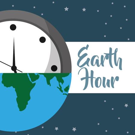 earth hour half clock and map world vector illustration Ilustração