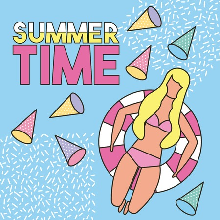 summer time vacations isometric figures girl lying down float bikini vector illustration Stock Illustratie