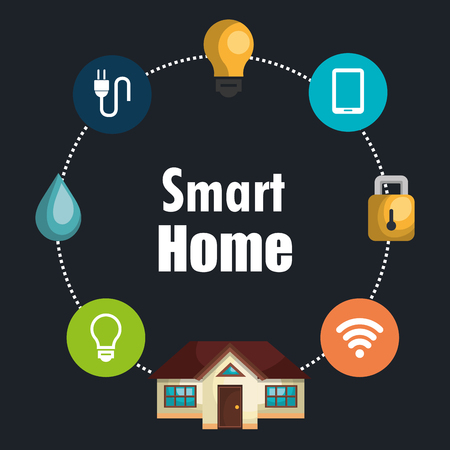 smart house with set services icons vector illustration design Ilustração
