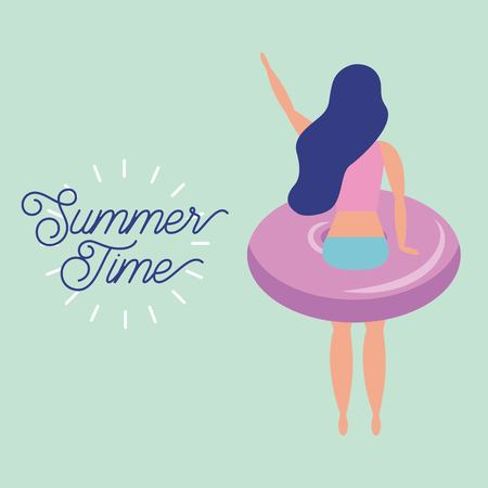 summer time vacation girl with float back view vector illustration Çizim