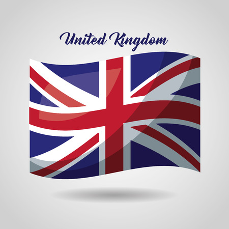 united kingdom country wave british flag vector illustration