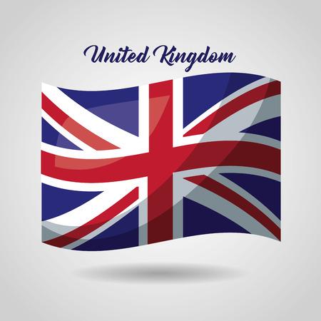 united kingdom country wave british flag vector illustration