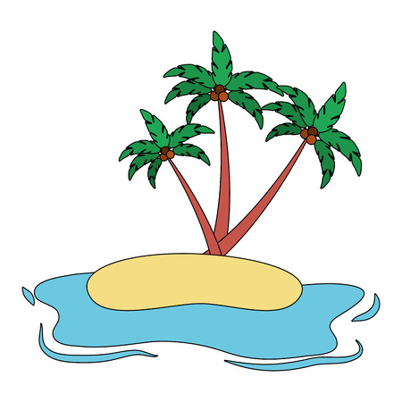 beach ocean coconut palm landscape vector illustration