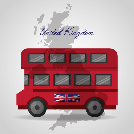 united kingdom flag map background double decker london bus vector illlustration Illustration