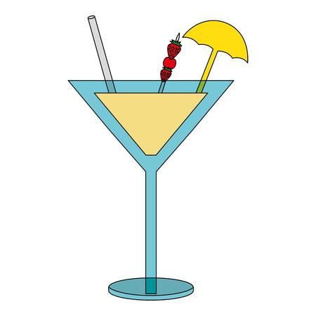 cocktail glass drink alcohol strawberries umbrella vector illustration