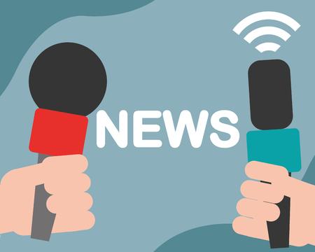 news communication relate hands holding microphones interviews vector illustration Illustration