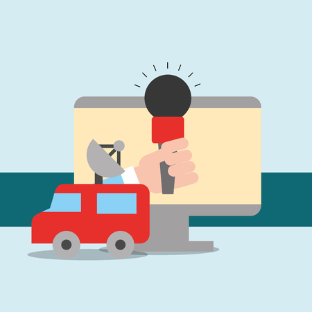 news communication relate screen hand holding microphone interview car antenna vector illustration Illustration