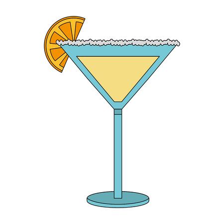 cocktail glass drink alcohol salt orange slice vector illustration