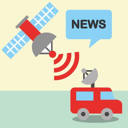 news communication relate car antenna signal satelite vector illustration