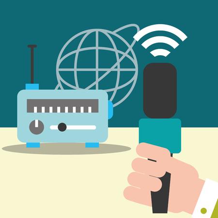 news communication relate world radio signal hand holding microphone vector illustration