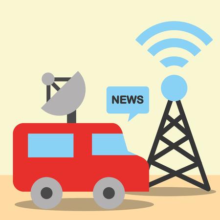 nieuwscommunicatie relateert toren signaal wifi auto informatie vector illustratie