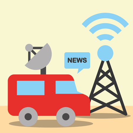 news communication relate tower signal wifi car information vector illustration