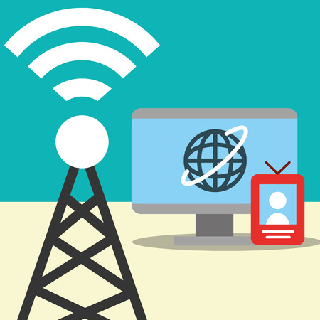 news communication relate tower signal computer screen world vector illustration