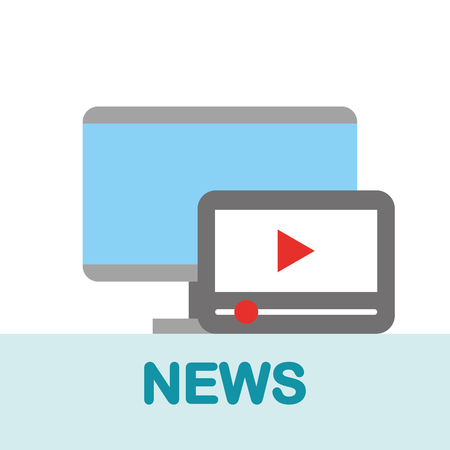 news communication relate computer technology device play videos vector illustration