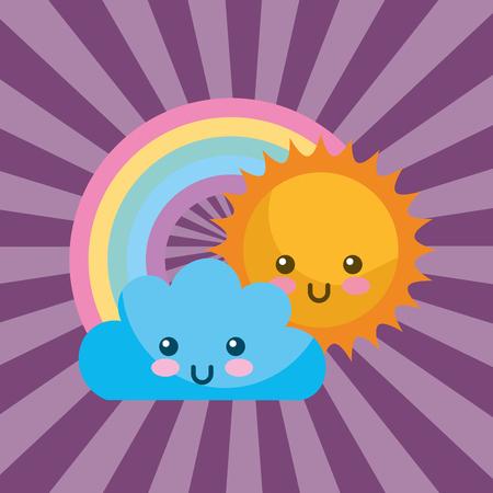 Cute kawaii sun cloud y una ilustración de vector de dibujos animados de arco iris redondo