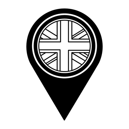 united kingdom flag in pointer map location vector illustration black and white