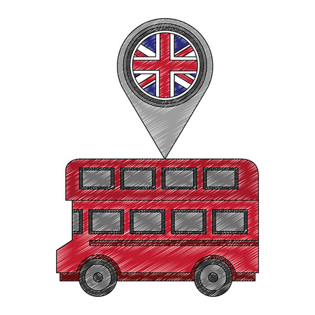 london double decker bus flag in pin map vector illustration Çizim