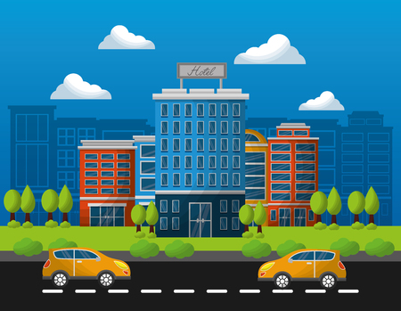 hotel buildings taxis in the street vector illustration