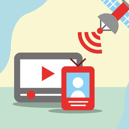 news communication relate technology screen player videos satelite signal vector illustration
