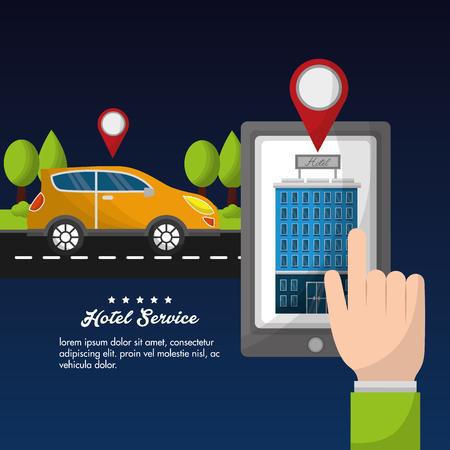 hotel service smarphone location taxi transport navigation vector illustration