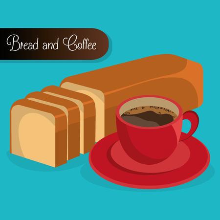 delicious halved bread and coffee label vector illustration design