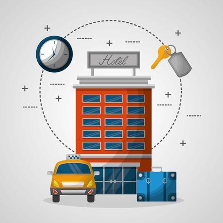 hotel building taxi suitcase service vector illustration