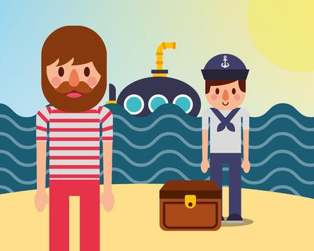 nautical maritime design ocean sunny day submarine pirate sailor mainland treasure chest vector illustration Illustration