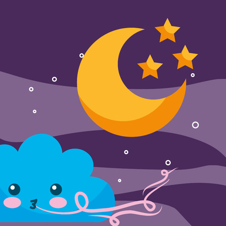 weather cartoon cloud wind moon and stars vector illustration