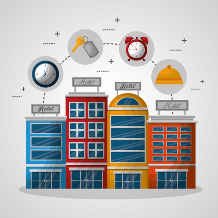 hotel building connection stickers clock ring key suit vector illustration Standard-Bild - 114962075