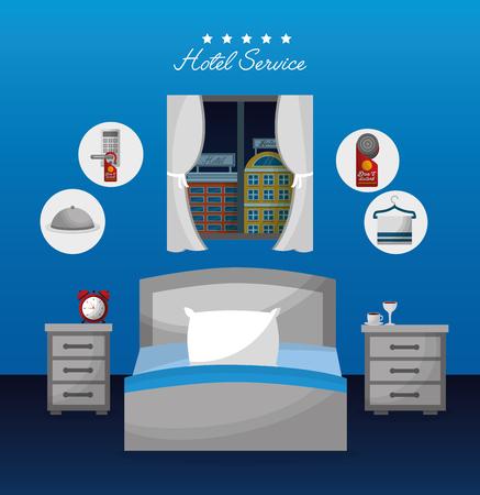 hotel service bedroom bed bedside tables alarm clock coffee vector illustration