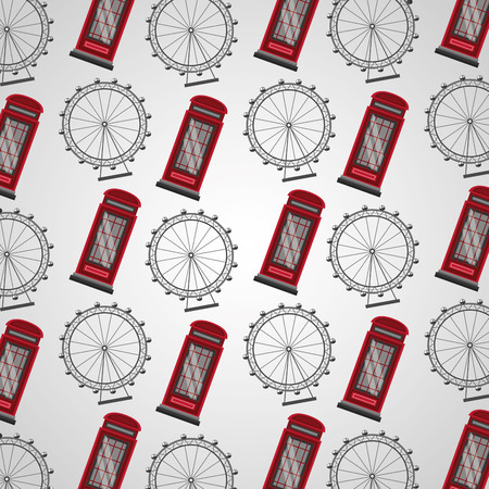 united kingdom country flag london eye telephone boxes background vector illustration