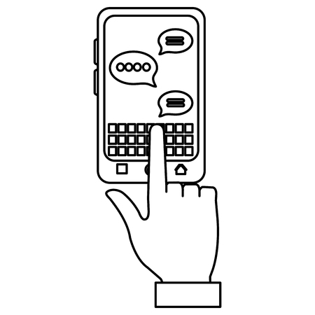 hand using smartphone with speech bubbles vector illustration design