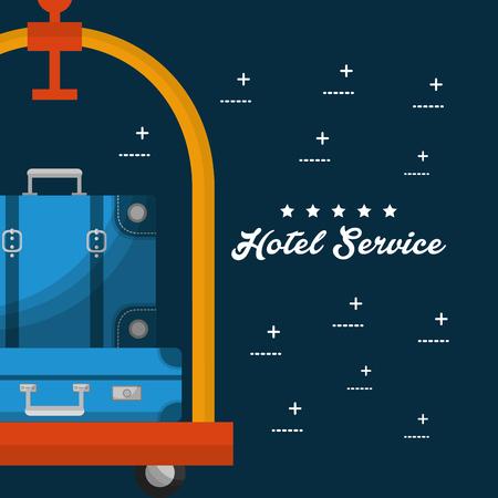 hotel building service luggage cart vector illustration