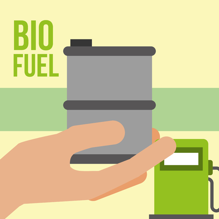 hand holding barrel pump station biofuel vector illustration Illustration
