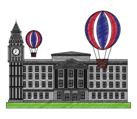 buckingham palace hot air balloon flag england vector illustration
