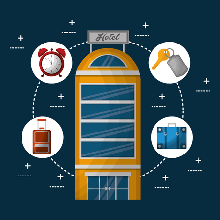 hotel building and suitcase connection key handbag clock vector illustration